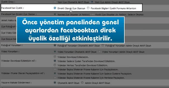 Facebooktan siteye nasıl direkt üye olunur