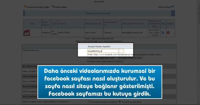 Sol kısıma facebook takip edin  ek modülü eklemek
