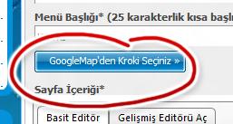 Google Map den kroki seçiniz
